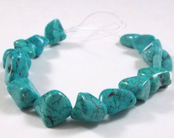 Howlite Nuggets Dyed Turquoise, 17x 11 MM, One Factory Strand HOWTQNUG