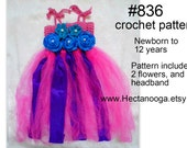 CROCHET PATTERN for kids - Tutu and Headband, Flower girl dress, kid's tutu,Girl's ballet dress, #836, baby, toddler, preteen, dance dress,