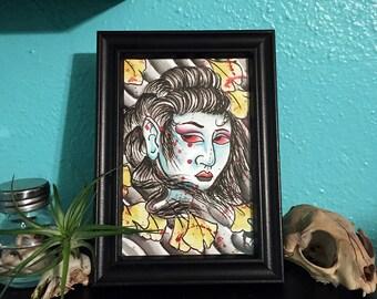 5x7 Ginkgo Geisha Print by Tyler Weisenberger
