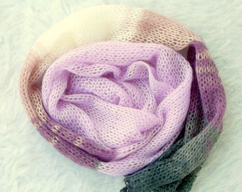 Lavender Scarf for Kids, Knit Scarf for Kids, Knit Scarves, Boho Scarf For Kids, Girls' Scarf, Knit Scarf for Kids, Boho Scarf