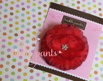 Sweet pink rhinestone flower hairclip headband- For babies and little girls-  Ships quickly