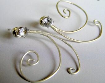 Earjacket Sapphire Sterling Silver Earrings. Round Diamond cut Sapphire and Sterling Silver Stud Earrings.