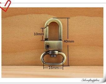 4cm anti brass metal snap hooks purse and bag hooks 10pcs (eyesize 1.5cm) J27