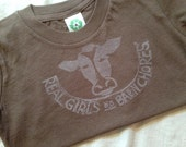 Real Girls Do Barn Chores Tee, T-shirt in Red, Heather Grey or Black with Stamped Cow Sizes 4, 5, 6, 7 years