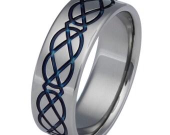 Celtic Titanium Wedding Band - Blue Ring - Infinity Design - ck2