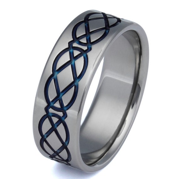 Celtic Titanium Wedding Band - Blue Ring - Infinity Design - ck2