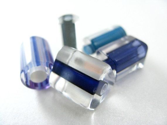 Cane Glass Beads Blue Mix