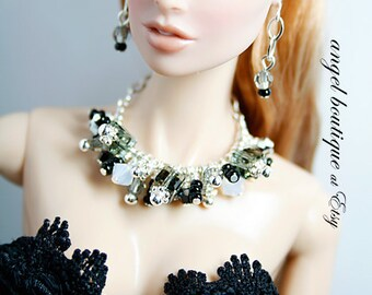 Sparkling Crystal Statement Necklace Links with Swarovski Crystals and Matching Earrings
