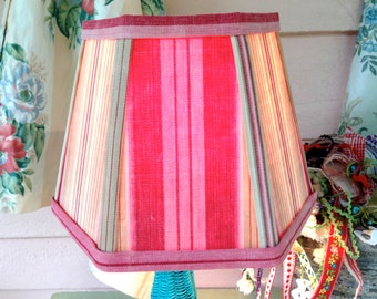 Rose Lamp Shade Lampshade in Vintage Ticking Stripe Fabric shade, 5x8x6 hex clip top, small lampshade