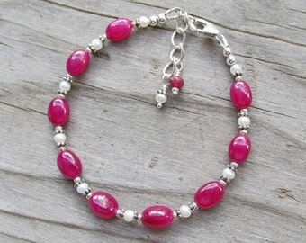 Natural Pink Ruby Freshwater Pearl Elegant Spiritual Healing Gemstone Bracelet
