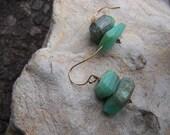 Opal earrings | Peruvian opal earrings | Peruvian opal nugget earrings | Green blue gemstone earrings | Opal gold earrings | Blue opal