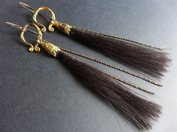 Wild/Free. Horsehair shoulder duster earrings.