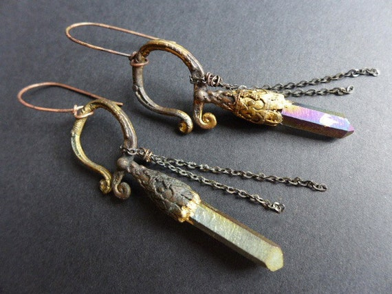 Hierophant. Rustic cosmic earrings with tribal rainbow titanium crystal quartz points.