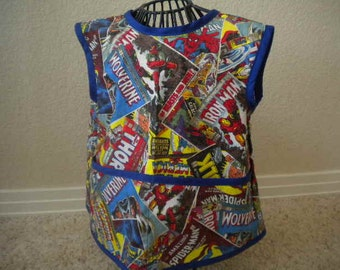 Marvel Art Smock or Apron with Blue Bias Trim. Size 3t-4t