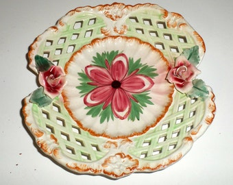 Vintage Floral Plate - Rose Plate - Lattice Work Plate - Cut Out Design - Decorative Plate - Made In Italy - Old Cookie Plate - Tea Plate
