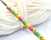 Polymer clay covered Susan Bates crochet hook size B1, handmade fun and funky design, ready to ship