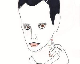 JOHN WATERS Drawing Print / Contour / Portrait/ mixed media / Pope of Trash / filmmaker  (size a4)