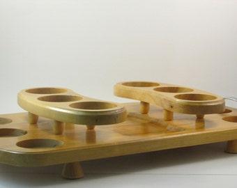Vintage Jaxton Wood Serving Tray for Drink Glasses Designed by Milton F Klein for Jaxton MFG Corporation Holds Twelve Glasses