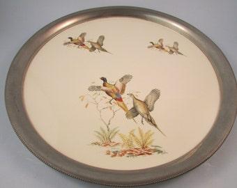 Vintage Revere Pewter Serving Tray Decorative Porcelain Framed in Pewter with Green Felt Bottom Pheasant Design Bar Tray