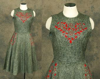 vintage 50s Dress - 1950s Grey Wool Felt Dress Folk Cut Out Dress Sz M