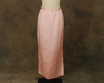 CLEARANCE SALE vintage 60s Maxi Skirt - 1960s Pink Satin Floor Length Pencil Skirt Sz S