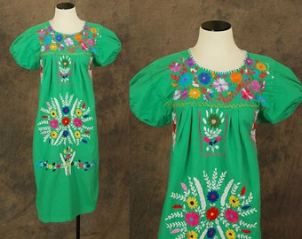 vintage 70s Peasant Dress - Green Boho Mexican Embroidered Tent Dress Sz S M L