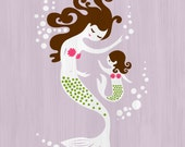 "8X10"" mermaid mother & daughter giclee print on fine art paper. lilac,  magenta pink, green texture, dark brunette."