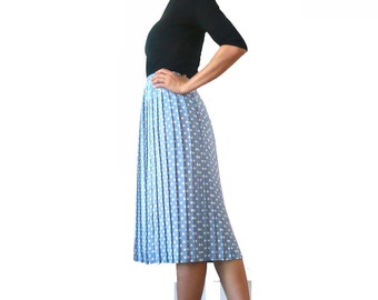 French Vintage Blue White Polkadots Pleated Skirt