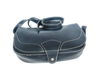 French Vintage LANCASTER Dark Blue Leather Satchel / Shoulder Bag / Crossover Bag