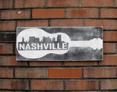 Nashville Guitar sign with skyline, Tennnessee sign, Nashville skyline art,  porch sign, custom city skyline sign, Guitar sign