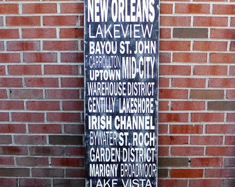 New Orleans subway art sign, SIZE 16 x 48 inches, custom New Orleans sign