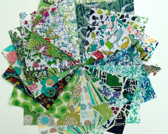 "40 Liberty Lawn  2.5 inch mini charm squares - GREENS - 40 Liberty tana lawn 2.5""  patchwork squares"