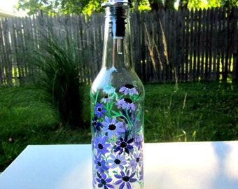 Dish Soap Dispenser,  Recycled Clear Beer Bottle, Painted Glass, Oil and Vinegar Bottle, Shades of Purple Flowers