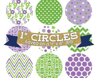 "ON SALE Bottlecap Images Digital Collage Sheet 4 x 6 Purple & Green with 1"" Circles Polka Dots Doodles Flowers Damask Patterns"