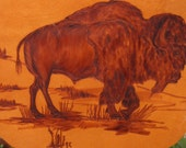 ON SALE original artist signed BUFFALO on hide painting from 1995 unusual and rare western Indian folklore