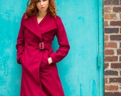 Chili pepper Red Cashmere and wool coat wrap coat with buckle