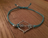 Colorful Bronze or Silver Metal Bow & Arrow Adjustable Bracelet
