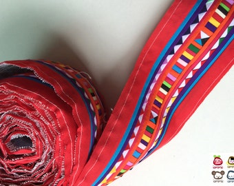 Red Quilt, Hmong fabric, Hmong Textile, Lisu Textile, fabric, Yellow, Thai hill tribe, Hmong, Lisu fabric, Sewn Fabric, Crafting, textile