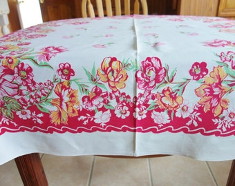 Red 1950s Cottage Tablecloth, Red Floral Tablecloth, 1950s Tablecloth, Retro Tablecloth