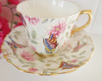 1945-63 Old Royal Butterfly Chintz Teacup, Old Royal Butterfly Teacup, Chintz Teacup, Butterfly Teacup,Botanical Teacup,  no 5