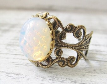 Vintage White Opal Ring, Opal Jewelry, Adjustable Filigree Opal Ring,pinfire