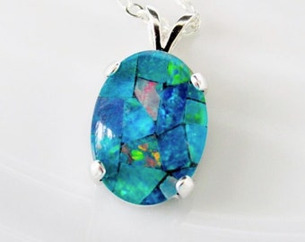 Opal Necklace, Sterling Silver Opal Pendant, Australian Opal Necklace, October Birthstone Necklace, Genuine Opal Necklace, Opal Jewelry
