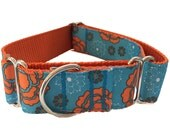 """Blue and Orange Floral Wide Dog Collar 1.5"""" - Martingale or Buckle"""