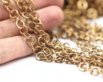 Brass Rolo Chain,2 M Raw Soldered Brass Chain (7mm) Bs 1001