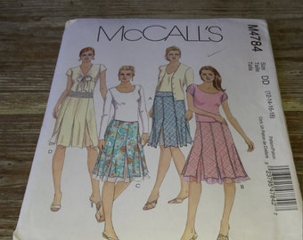 Bias Skirt, Slightly Flared in Two Lengths Misses  Sewing Pattern Uncut McCall's 4784 Size 12, 14, 16, 18