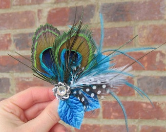 Peacock Feather Hair Clip with Turquoise Accents Wedding or Dance