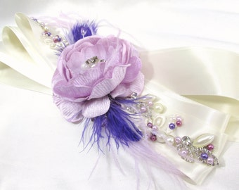 Radiant Orchid Beaded Bridal Sash or Belt in Purple, Lavender and Ivory with Swarovski Pearls