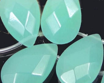 8 Seafoam Green Chalcedony Faceted Briolette Teadrop Beads 25x16mm (e5259)