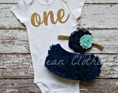 Baby Girl Baby Girl 1st Birthday Outfit Cake Smash Photography Props Gold One Bodysuit Navy Bloomers Mint Gold Headband