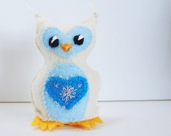 winter felt owl- stuffed winter wee feltie owlet in winter winter white and icy blues with silver metallic embroidery on heart Ready to Ship